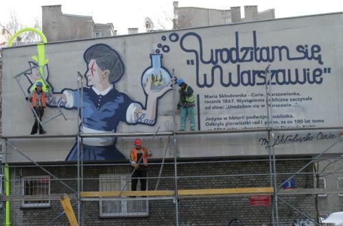Mural o Marii Skłodowskiej-Curie już gotowy