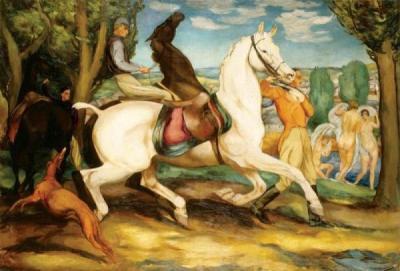 Monumentalne postaci jeźdźców na obrazach Eugeniusza Gepperta.